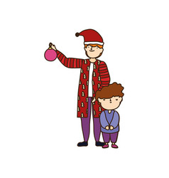 merry christmas father and son warm clothes vector image