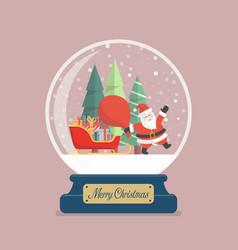 Merry christmas glass ball with santa holding vector