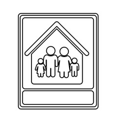 monochrome contour with portrait of family in home vector image