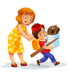 mother and son making school preparation vector image