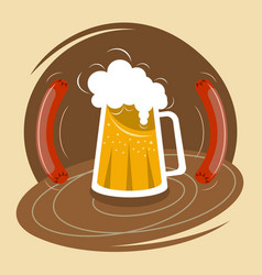 mug of beer with foam and two sausages vector image