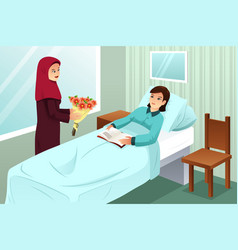 Muslim woman visiting a friend in the hospital vector