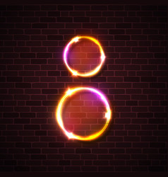 neon light led lamp sign circle design on brick vector image