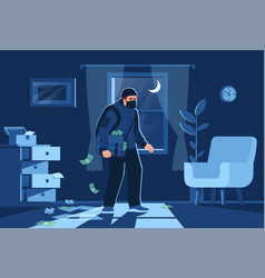 Night bulgar intrusion into apartment semi flat vector