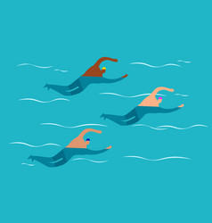 open water swimming competitions - mens group vector image
