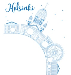 Outline Helsinki skyline with blue buildings vector image