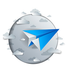 Paper plane flying in scenic cloudy sky origami vector