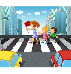 People crossing stree in the city vector