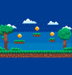 Pixel-game background with coins in sky at night vector