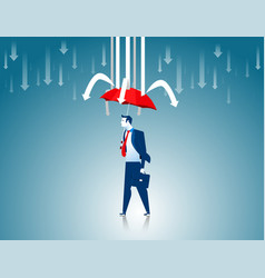 Protection businessman red umbrella prevent vector