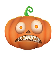 Pumpkin scary on white background vector image