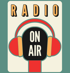 radio station on air typographic poster vector image