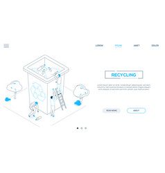 recycling - line design style isometric web banner vector image