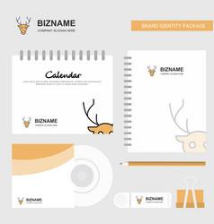 reindeer logo calendar template cd cover diary vector image