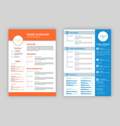 resume template professional personal description vector image