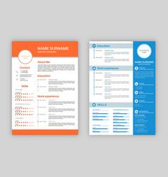Resume template professional personal description vector
