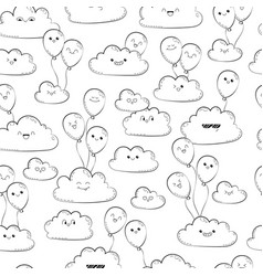 Seamless pattern with clouds and balloons vector
