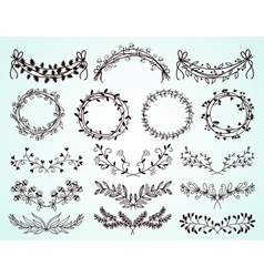 set hand-drawn floral borders and wreaths vector image