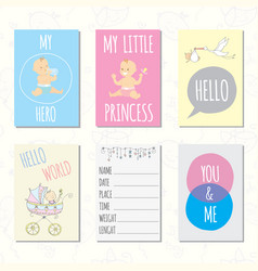 Set journaling cards for newborn baby vector