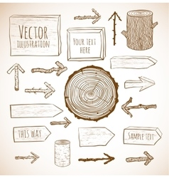 Set of rustic wooden backgrounds and objects vector