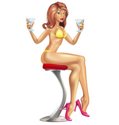 Sexy woman in bikini with cocktails vector