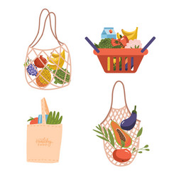 shopping eco bags and basket set grocery vector image