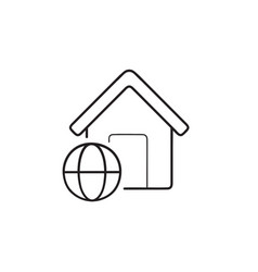 smart home with internet hand drawn outline doodle vector image