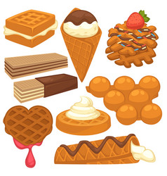 Sweet treats with delicious waffles isolated vector