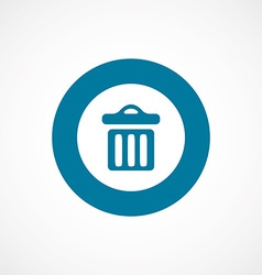 Trash bin bold blue border circle icon vector