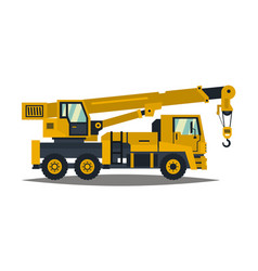 truck crane yellow isolated on white background vector image