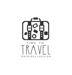 typographic design logo suitcase with stickers vector image