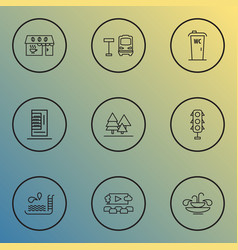 Urban icons line style set with vending machine vector