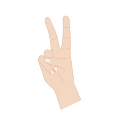 Victory hand sign isolated on white background vector