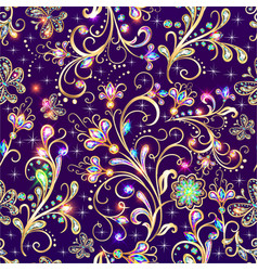 vintage seamless background with gold flower vector image