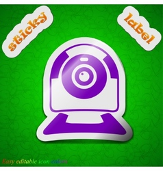 Webcam icon sign Symbol chic colored sticky label vector