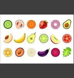 whole and cut in halves fresh fruits and vector image