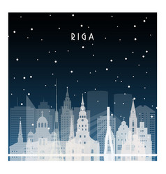 winter night in riga night city vector image
