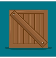 Wooden box delivery packing vector