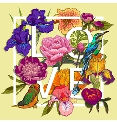 Floral and birds Love Graphic Design vector image vector image