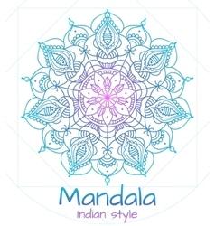 Mandala thin line indian style vector image