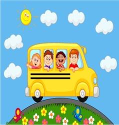 School Bus With Happy Children cartoon vector image vector image