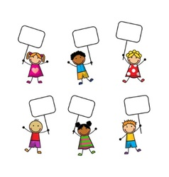 Cartoon children with signs vector image