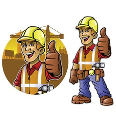 Cartoon of construction worker with thumb up hand vector image vector image