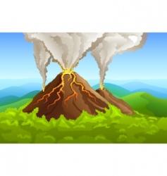fuming volcano vector image vector image