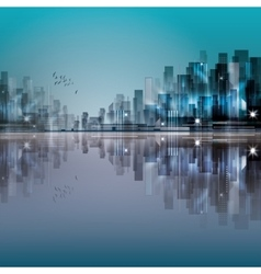 Modern night city with reflection on water vector image vector image