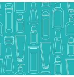 Seamless pattern with cosmetics bottles vector image vector image