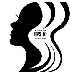 silhouette of a female head with a beautiful hair vector image vector image
