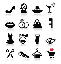 Woman or girl - beauty and fashion icons se vector image vector image