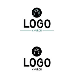 church logo with the alpha and omega vector image vector image