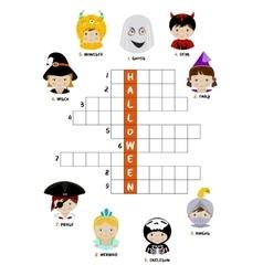 Halloween crossword puzzle for kids vector image vector image